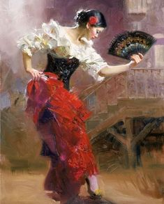 """From top to bottom: """"Dancing In Barcelona"""", """"Flamenco In Red"""", """"Seville In My Heart"""", """"Spanish Dancer"""" and """"The Last Dance"""" – Pino Daeni Spanish Dancer, Spanish Art, Spanish Style, Art Espagnole, Dance Paintings, Indian Paintings, Oil Canvas, Mary Cassatt, Italian Artist"""