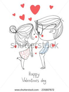 Valentine's Day. Boy and girl kissing