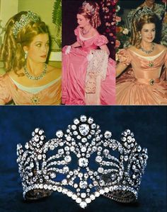 """Princess Grace of Monaco at the """"Century Ball"""" in 1966 wearing the coronation crown of Empress Joséphine, now owned by Van Cleef & Arpels. They loaned it to Princess Grace along with the rest of the jewels she wore that evening. (Royal Order of Sartorial Splendor)"""
