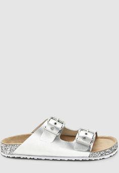 Papuci de piele cu aspect metalizat si insertii stralucitoare  Caracteristici Tip produs: papuci Gen: fete Culoare: argintiu Material: piele naturala Tip talpa: plata Detalii: insertii stralucitoare - aspect metalizat Inchidere: catarama Compozitie Exterior: piele Interior: alte materiale Talpa: alte materiale  Brand: NEXT  Pret: 114.99 Gen, Birkenstock Arizona, Fashion Days, Sandals, Interior, Shoes, Shoes Sandals, Zapatos, Indoor