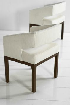 """$695 Open Back Chairs in Textured Cream Linen  24"""" Wide / 22"""" Deep / 31"""" Tall"""