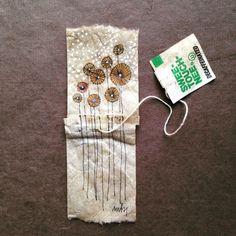 ruby silvious art — 363 days of tea. Tea Bag Art, Tea Art, Coffee Filter Art, Used Tea Bags, Recycled Art, Mail Art, Oeuvre D'art, Art Tutorials, Textile Art