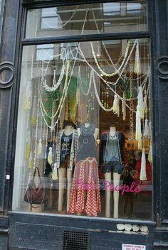 Window treatment store · free people, pinned by ton van der veer retail boutique, boutique decor, boutique Boutique Window Displays, Window Display Retail, Retail Windows, Store Displays, Shop Windows, Windows Decor, Retail Displays, Front Windows, Design Salon