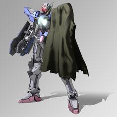 Battle damaged GN-001 Gundam Exia (aka Gundam Exia, Exia, Gundam Seven Swords), is the close combat Gundam featured in both seasons of Mobile Suit Gundam 00. The unit is piloted by Setsuna F. Seiei.