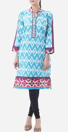 Buy Blue Embroidered Cotton Lawn Kurti by Khaadi Lawn Kurti Collection 2015.