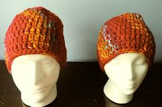 Crochet Beanie Red Orange and Multi-Colored adult