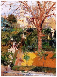 Joaquín Sorolla y Bastida (Spanish, 1863-1923)  Gardens of the Alcazar in Seville
