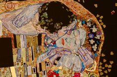 detail of Kunst Kiss, an interpretation of Klimt's work.  Klimt applied gold leaf which is alluded to in the gold foil stickers of my collage