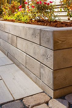 retaining wall blocks Borealis Wall muret 05 113 – All For Garden Backyard Retaining Walls, Retaining Wall Blocks, Retaining Wall Design, Concrete Retaining Walls, Stone Retaining Wall, Retaining Wall Gardens, Concrete Sleepers, Modern Landscape Design, Modern Landscaping