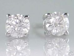 Diamond Stud Earrings Brilliant  Round Cut  020ct F by DOGSTONE, £350.00
