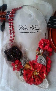 bisuteria pendientes flores de resina rojo retro romantico