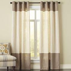 Sometimes, simple is perfect. Case in point: Our Blythe Colorblock Curtain panel. It's constructed of a woven, linen-blend fabric and accented with grommet hardware. Easy window dressing that won't break the bank. Woven Wood Roman Shades, Family Room, Home, Trendy Bathroom, Cool Curtains, Panel Curtains, Drapes Curtains, Curtains, Bathroom Colors