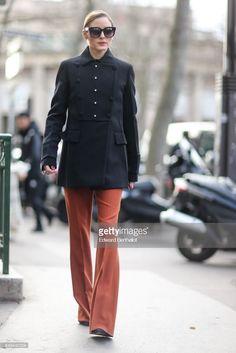 Olivia Palermo wears a black military jacket and orange pants outside the Miu Miu show during Paris Fashion Week Womenswear Fall/Winter on. Olivia Palermo, Miu Miu, Black Military Jacket, Fall Winter 2017, Orange Pants, Winter Fashion, Paris Fashion, Style Icons, Women Wear