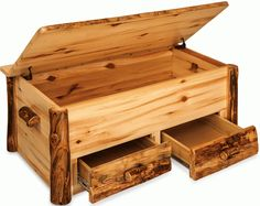 Amish Rustic Pine Log Hope Chest with Drawers Amish Log Furniture Collection This Rustic Log Hope Chest is handcrafted by skilled Amish wood workers from their wood shops right here in the United…More Rustic Outdoor Furniture, Pine Furniture, Amish Furniture, Antique Furniture, Furniture Stores, Furniture Design, Furniture Removal, Furniture Layout, Furniture Ideas