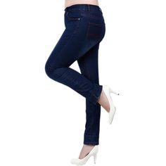 Plus Size 5XL Elastic Waist Women Jeans Slim Fit Vintage Elastic Cotton Skinny Pencil Pants Big Long Denim jeans for women - Online shopping Online shopping