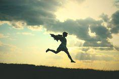 beautiful, cloud, fly, girl, jump