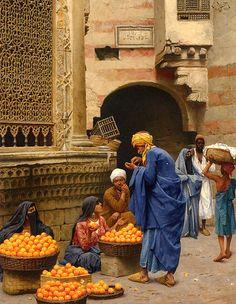 The Orange Sellers , Cairo 1886 By Ludwig Deutsch  Oil on board