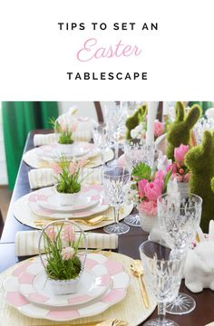 Easter Tablescape: | Pink + Green + White + China Dishes + Flowers
