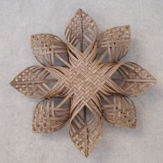 xxl Woven Star Christmas ornament extra large snowflake chubby chevron twill sculpture Scandinavian Cherokee tree topper by Baskauta27 (42.0...