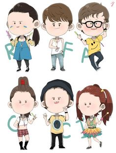 The Mad Fat Diary gang ready for the rave. Artwork by JongParksin.tumblr.com