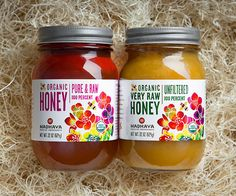 honey jar labels with a colorful flower design | Madhava packaging by Steve Bullock Design