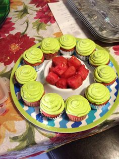 Watermelon cupcakes! Delicious watermelon frosting with a simple cake and an added surprise