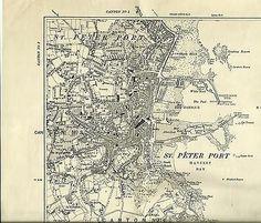 Ordnance Survey 6 inch original map Guernsey St Peter Port 1900