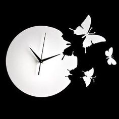 Butterfly Time Fly Wall Clock DIY Art Home Decor (Black / Red / White) $49.99