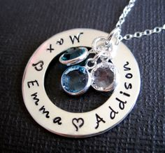 great for 2-4 names of your loved ones... handstamped jewelry byHannahDesign