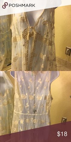 Maurice's Lace coverup Off white to antique Lace.  Long in front and longer in back.  Very pretty.  Non-smoking environment Maurices Tops Camisoles