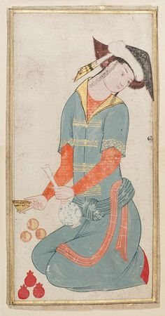 Young man holding a bottle of wine - Persian, mid-16th century - Object Place, Islamic World - Dimensions: .07 x .14 - Medium or Technique: Paper; painting