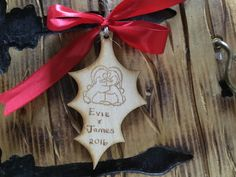 Personalised / Customised, Rustic wooden Christmas decoration, unique holly leaf gift, Christmas decor for newly weds first christmas by BeyondTheShed on Etsy