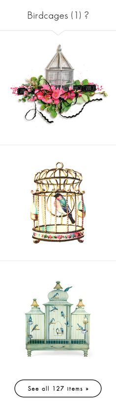 """Birdcages (1) 🌐"" by poshtrish ❤ liked on Polyvore featuring birds, birdcages, home, home decor, fireplace accessories, blue home accessories, blue home decor, bird cage home decor, birdcage home decor and wall art"