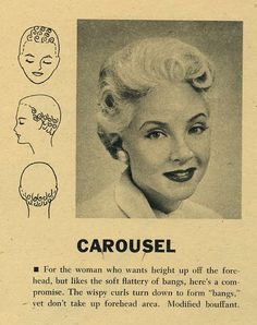 """Carousel"" hair setting pattern by the Toni Company 1950s Hairstyles, Curled Hairstyles, Rockabilly Makeup, 50s Makeup, Makeup Geek, Short Cropped Hair, Vintage Hairstyles Tutorial, Retro Updo, Crop Hair"