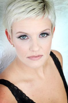 - Boudoir - Another! Short White Hair, Super Short Hair, Short Hair Cuts, Short Hair Styles, Pixie Cuts, Very Short Haircuts, Corte Y Color, Cut Her Hair, Pixie Hairstyles