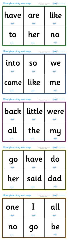 Mixed Phase Tricky Word Bingo  - Pop over to our site at www.twinkl.co.uk and check out our lovely Letters and Sounds primary teaching resources! letters and sounds, phonics, tricky words, tricky word game, activity #twinkl #resources