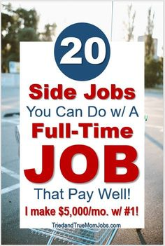 If you're looking for side jobs then you have to check out this list. Everything can be done with a full-time job and they pay well. Start a new revenue stream today. Ways To Earn Money, Earn Money From Home, Earn Money Online, Online Jobs, Money Saving Tips, Way To Make Money, Ways Of Making Money, Hobbies That Make Money, Online Income