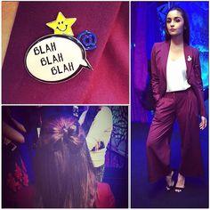Today for #AajKiRaatHainZindagi wearing ILK ! Have my hair bowed up and badges ready ;) @stylebyami @ayeshadevitre @vardannayak @grish1234 @shnoy09 @sajzdot
