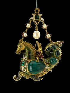 Pendant jewel; gold; set with cabochon emeralds; form of hippo camp ridden by small female figure wearing feather diadem and holding triden. Spain, late 16th century.
