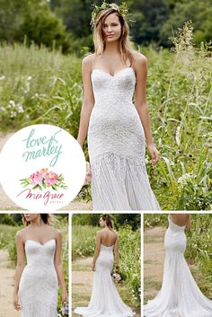 This unique gown by Love Marley features a sweetheart neckline with spaghetti straps. The lace gown flows into a chiffon train. This gown is absolutely stunning and could be perfect for your inner bohemian goddess. #WeddingGowns #LaceGowns #LoveMarleyGowns #BohemianBridal