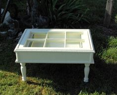 Shadow box Old window Coffee Table Optional Light by wooddesignsby. $290.00, via Etsy.