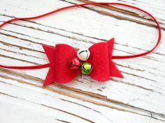 Christmas Bow Headband - Red Bow Headband - Felt Bow Headband - Christmas Baby Bow - Jingle Bell Headband by AvaBowtiquee on Etsy
