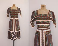 1970s Dress - Vintage 70s Prairie Dress - Campiña Dress