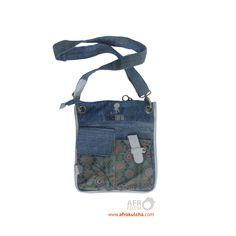 Afrochild label - Denim sling bag Messenger Bag, Gym Bag, Satchel, Label, Sew, African, Denim, Chic, Bags