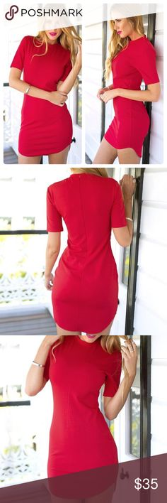 RED CURVED-HEM BODYCON DRESS size 2 Let your romantic side out. And while you're at it, wear this red curved-hem bodycon dress as you go on a mushy date with your man along with candles and a good wine. With its 3/4 sleeves, crew neckline and figure-tracing stretchable fabric, wearing this can help intensify your relationship. Before he picks you up and take you out, be sure to complement this with sexy stilettos, romantic curves and red lips.   Item Specifics Material: Cotton Blend Color…