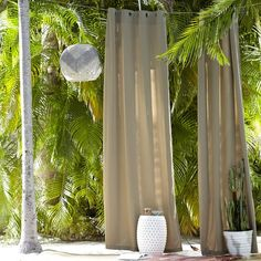 Solid Outdoor Drape - Flax Curtains with grommets--- make great ceremony or reception partitions