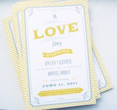 One of the details was incorporating the movie theme into their day of pieces. I worked with Kwanji to develop some fun programs and place cards with the vintage movie feel. We also created a custom rubber stamp to use on popcorn boxes that were served during the cocktail hour. Ara had several vintage movie posters blown up to put on display for the reception. In addition to the classics we made our own vintage-inspired poster starring Kwanji and Howell, so cute! This was printed 36″ x 24″…