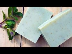 Learn to make natural peppermint soap scented with essential oil and coloured with a green mineral and flecks of real peppermint leaves Soap Making Process, Soap Making Kits, Soap Making Supplies, Cold Process Soap, Peppermint Soap, Peppermint Leaves, Handmade Soap Recipes, Handmade Soaps, Coconut Oil Soap