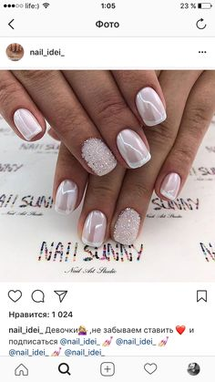 Installation of acrylic or gel nails - My Nails Fancy Nails, Love Nails, My Nails, White Sparkle Nails, White Chrome Nails, Acrylic Nail Designs, Nail Art Designs, Acrylic Nails, Fabulous Nails