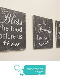 Bless The Food Wood Kitchen Wall Decor Distressed Wood Sign from Rusticly Inspired Signs https://www.amazon.com/dp/B01M28SAYD/ref=hnd_sw_r_pi_dp_me1dybA6XS0G7 #handmadeatamazon